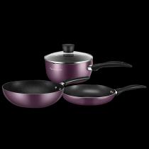 美的锅具套装三件套厨具烹饪组合家用电磁炉燃气灶不粘锅炒锅奶锅煎锅全套MP-SL0305 紫色三件套